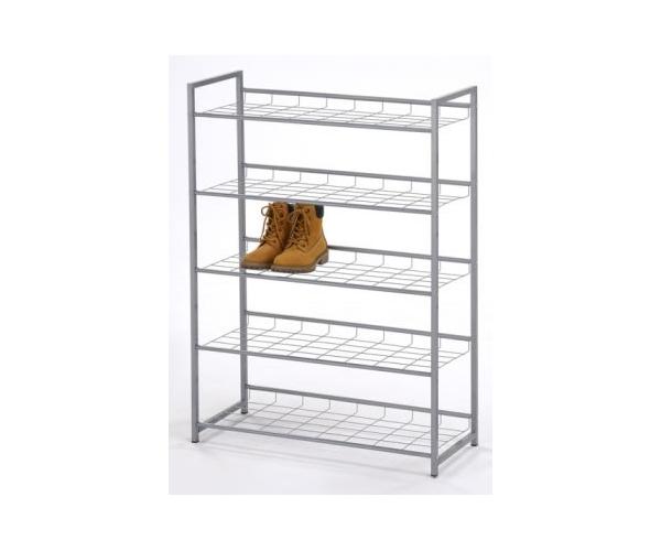 44085x9 schuhregal schuhablage regal metall silbergrau leo 5 etagen 80 cm breit ebay. Black Bedroom Furniture Sets. Home Design Ideas