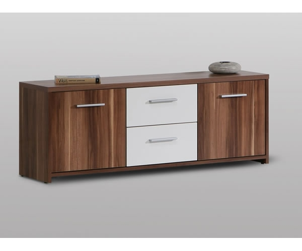 lowboard tv m bel kommode in nussbaum weiss ebay. Black Bedroom Furniture Sets. Home Design Ideas