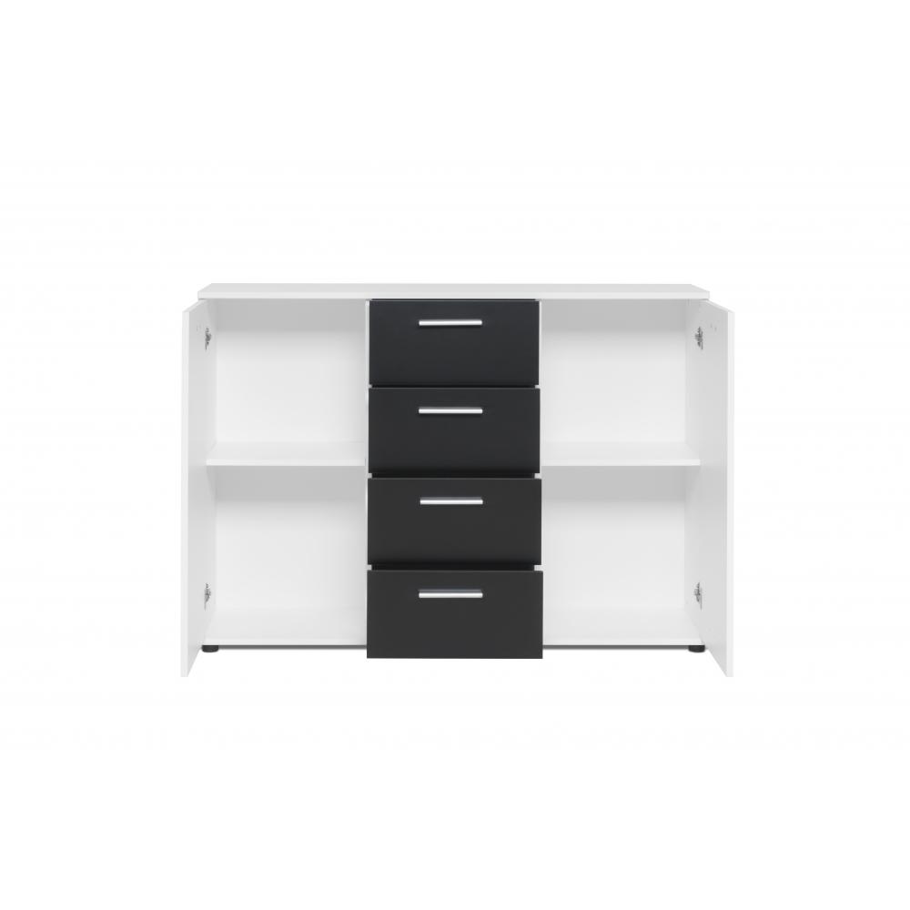 kommode beistellkommode stauraumkommode jacky 2 weiss schwarz finori 120 cm ebay. Black Bedroom Furniture Sets. Home Design Ideas