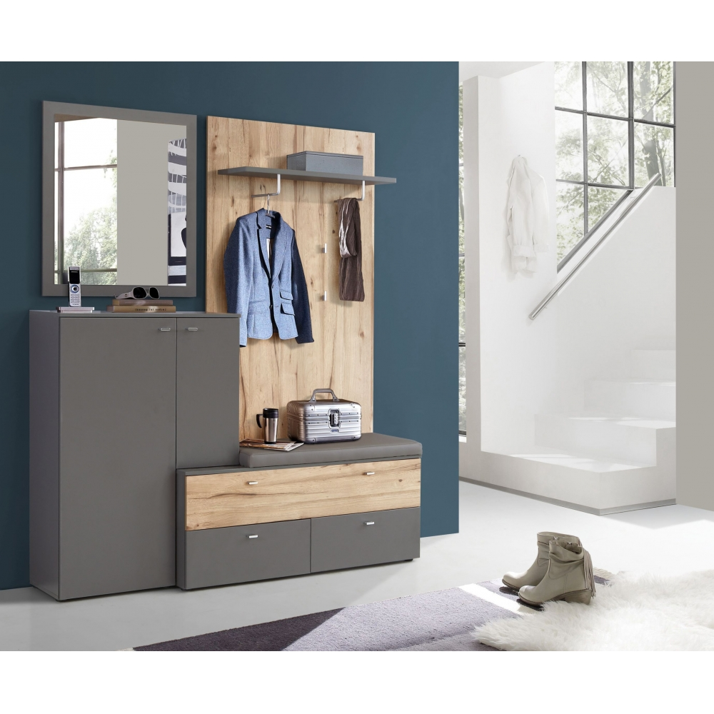 comd02 c175 como garderobe flurgarderobe diele wandgarderobe ca 170 cm breit ebay. Black Bedroom Furniture Sets. Home Design Ideas