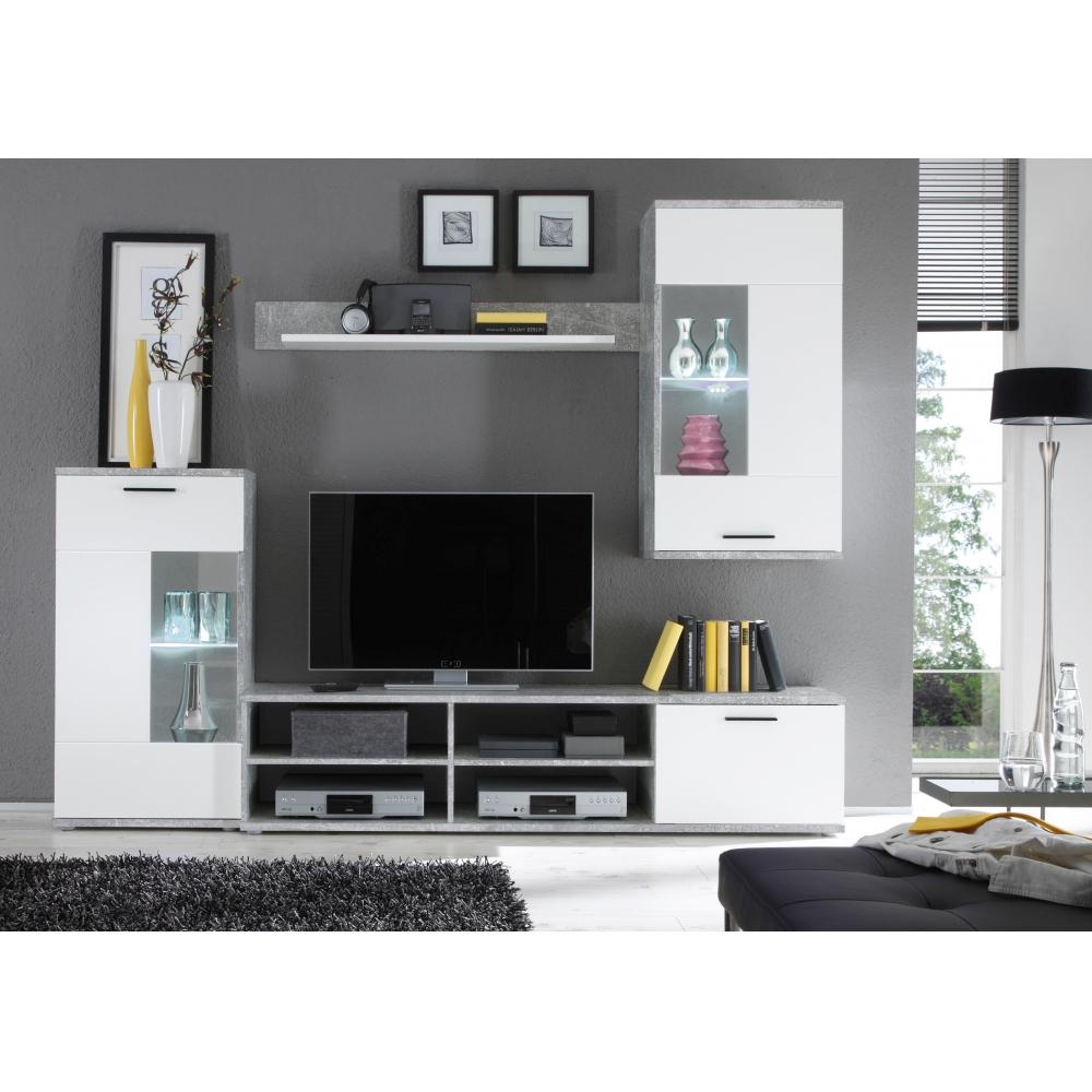 Anbauwand Wohnwand Wohnzimmerschrank Frontal Beton Grau