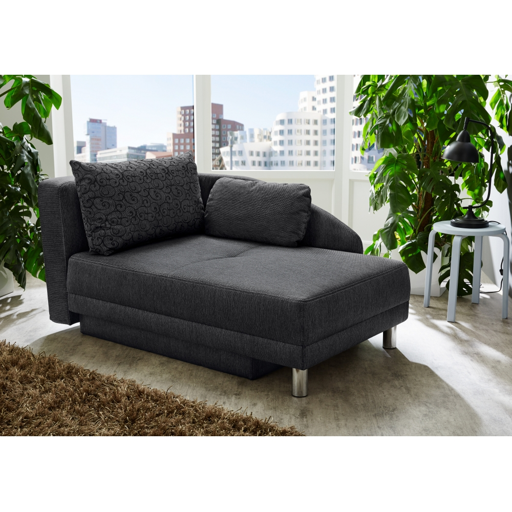 jina schwarz recamiere sofa schlafsofa federkern schlaffunktion ca 149 cm ebay. Black Bedroom Furniture Sets. Home Design Ideas