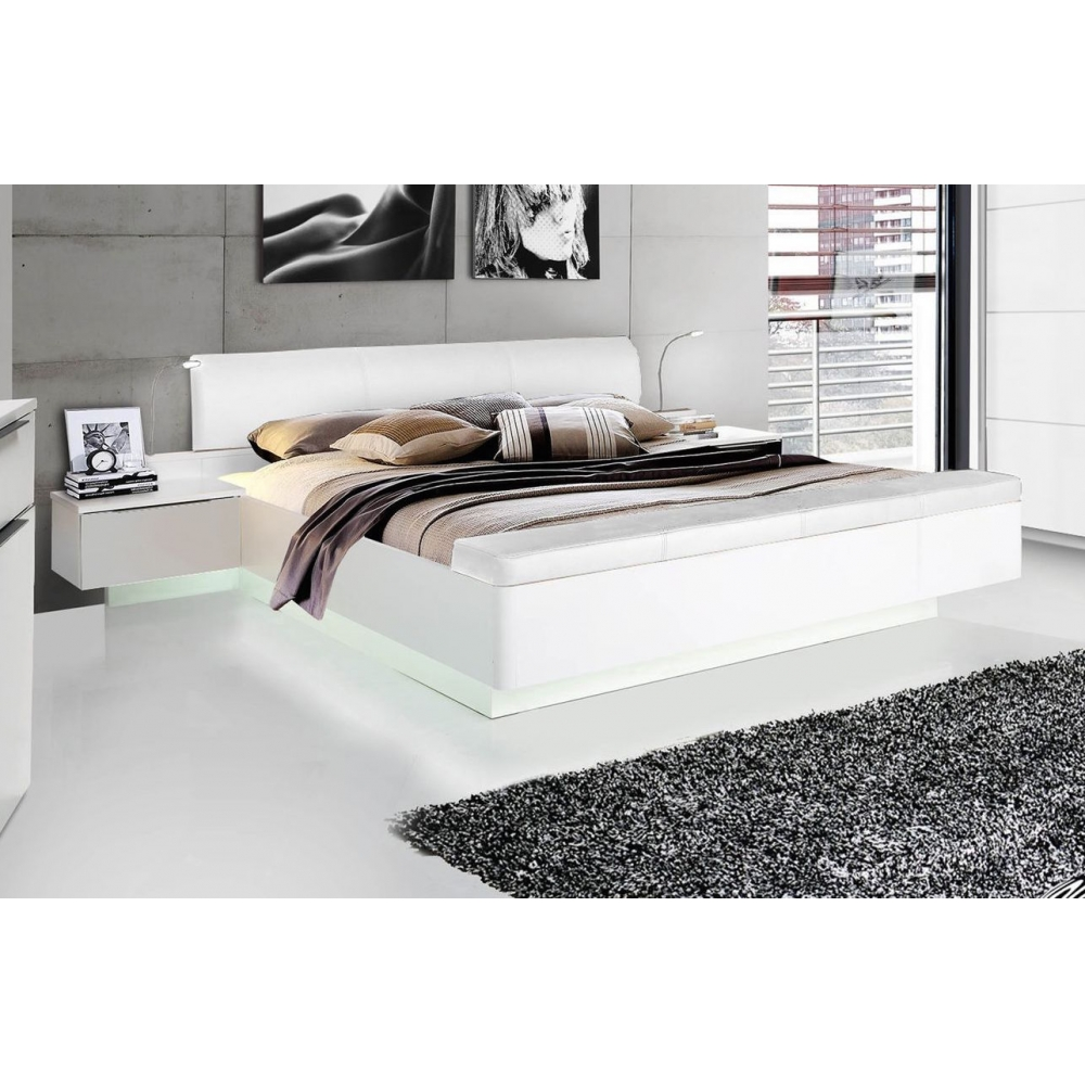 starlet 180 x 200 wei hochglanz bett doppelbett ehebett nakos fussbank 5904767170493 ebay. Black Bedroom Furniture Sets. Home Design Ideas