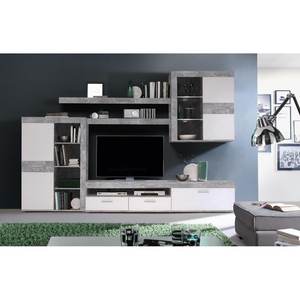 Details zu ZUMBA Beton grau / weiß Wohnwand Anbauwand Wohnzimmerschrank  inkl. LED 9 cm
