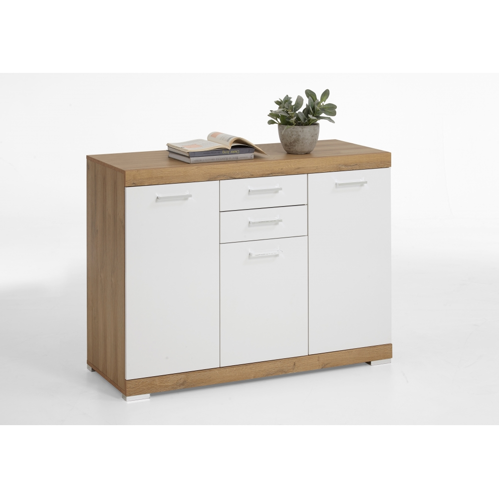 kommode beistellkommode sideboard 50 cm tiefe alteiche nb edelglanz wei ebay. Black Bedroom Furniture Sets. Home Design Ideas