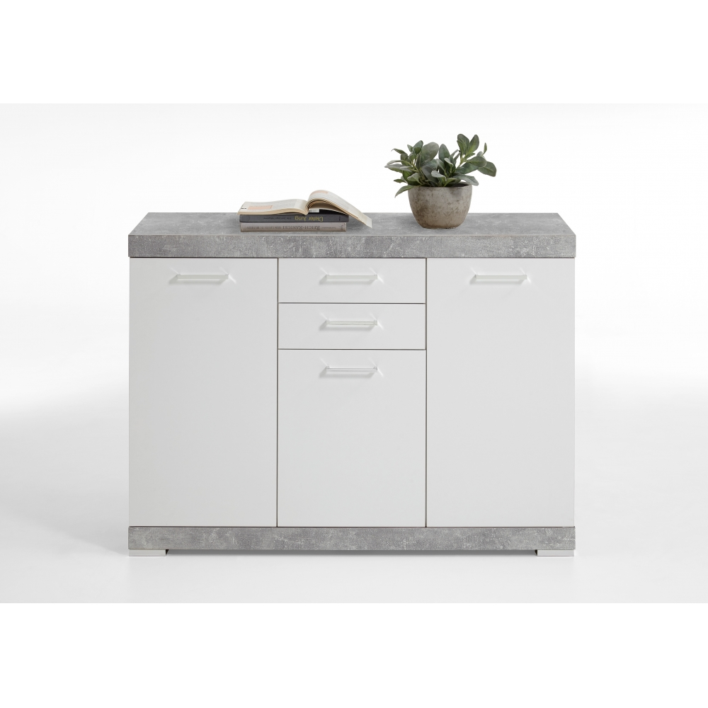 kommode beistellkommode sideboard 50 cm tiefe beton grau edelglanz wei ebay. Black Bedroom Furniture Sets. Home Design Ideas