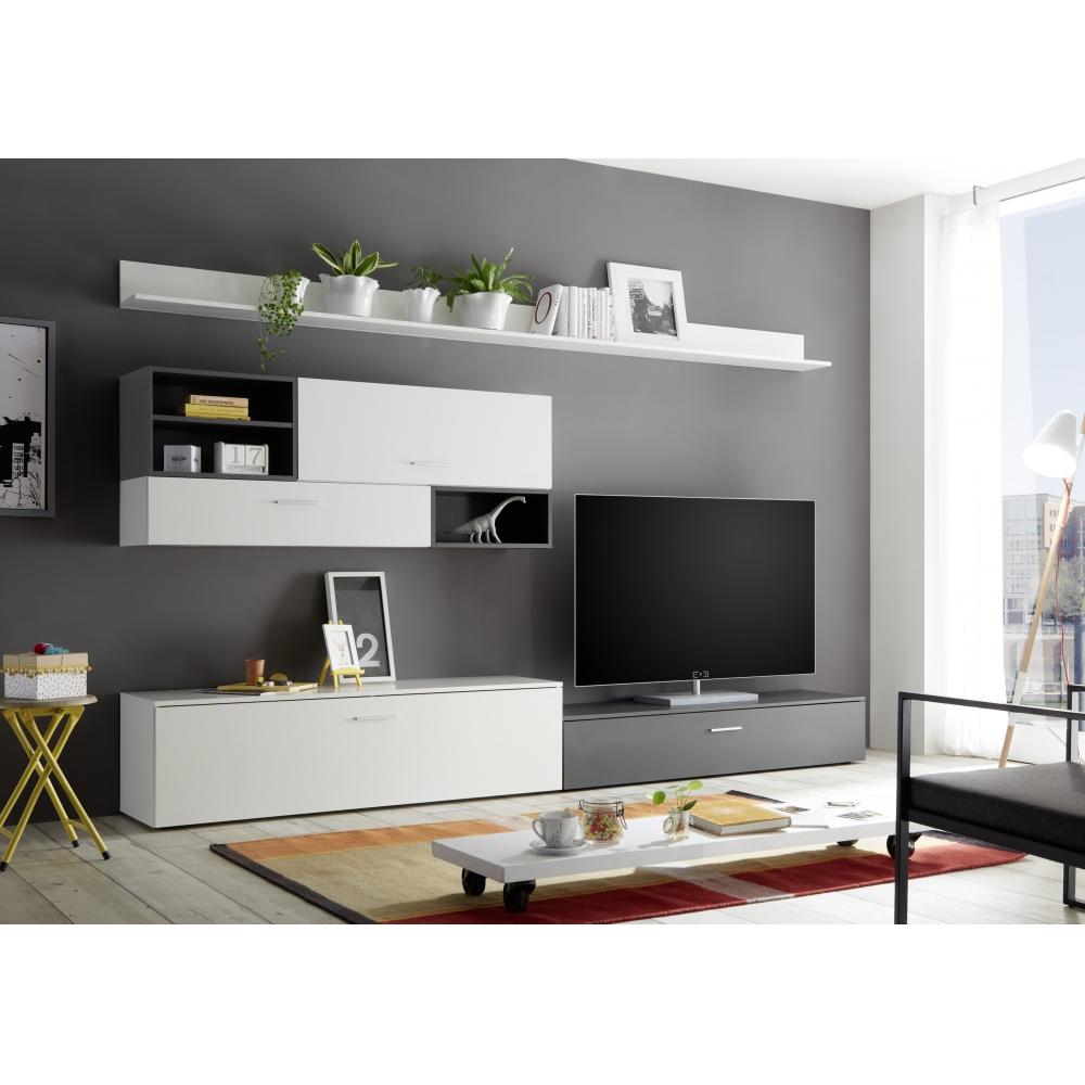 Details zu Wohnwand Anbauwand Wohnzimmerschrank TV Schrank ca. 9 cm NEW  VISION Weiß Grau