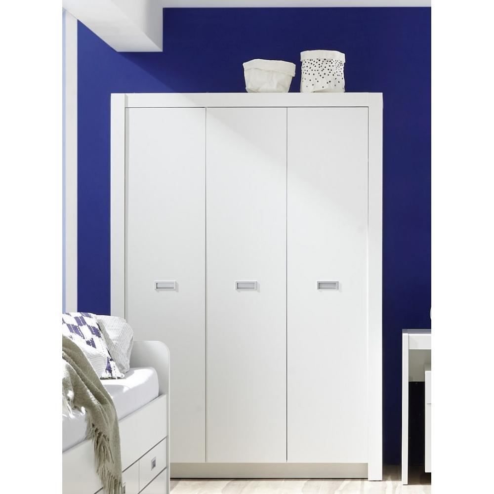 ALASKA Weiß Kleiderschrank Jugendzimmer Stauraumschrank Drehtürenschrank   eBay