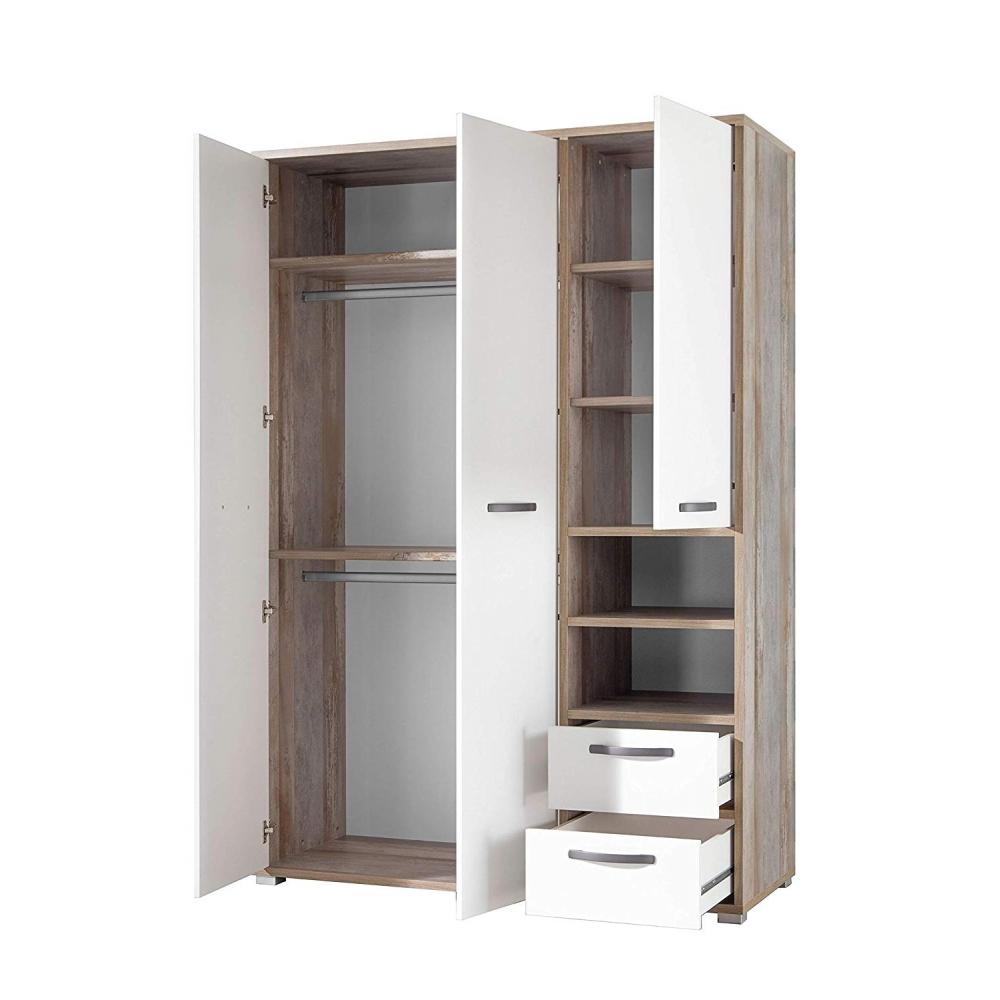 Kleiderschrank Drehtüren Stauraum Jugendzimmer Schlafzimmer MOON Driftwood Weiß   eBay