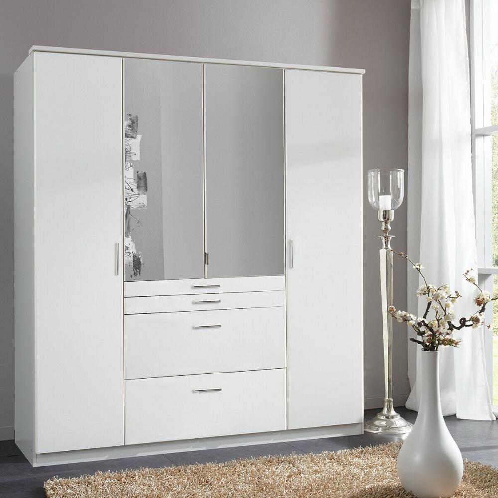 AACHEN Weiß Kleiderschrank Drehtüren mit Spiegel und Schubladen ca. 180 cm   eBay