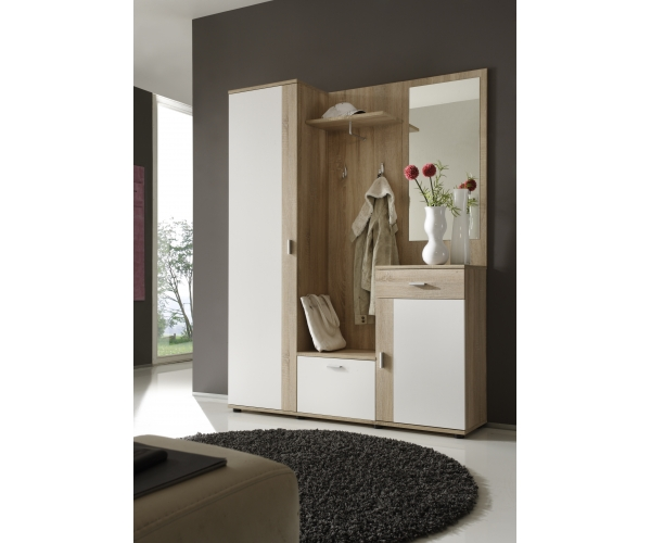 garderobe garderobenset diele patent 5 teilig eiche s gerau dekor 145 cm breit ebay. Black Bedroom Furniture Sets. Home Design Ideas