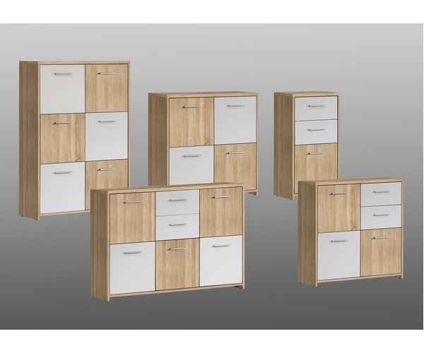qdrk13 q45f kommode sideboard beistellkommode sonoma eiche dekor weiss ebay. Black Bedroom Furniture Sets. Home Design Ideas