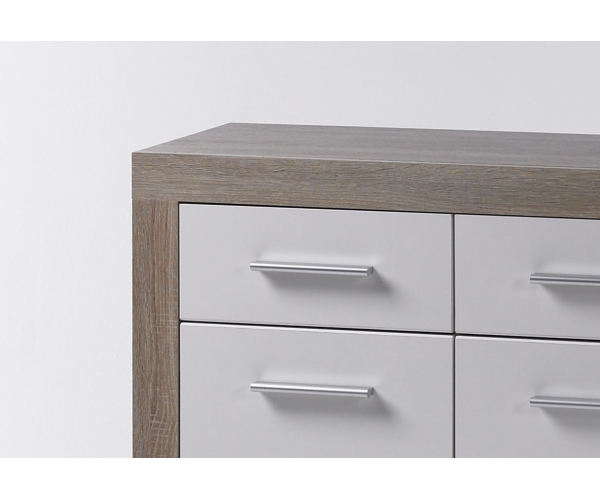 can can kommode sideboard eiche s gerau hochglanz weiss ca 117 cm breit ebay. Black Bedroom Furniture Sets. Home Design Ideas
