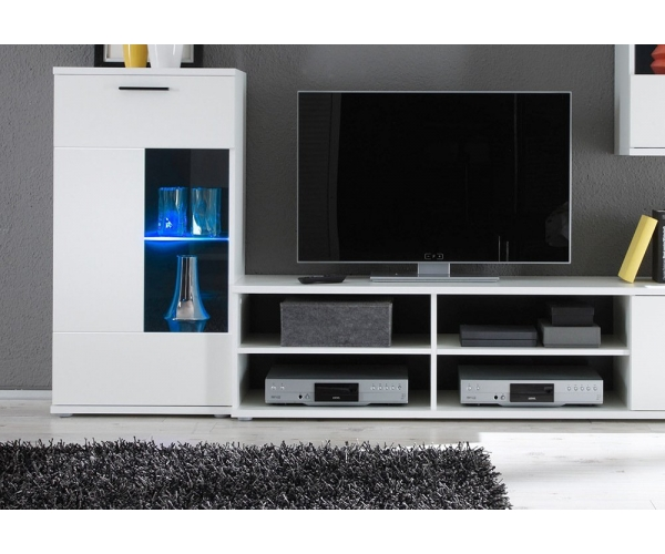 anbauwand wohnwand wohnzimmerschrank schrankwand weiss mit led ca 230 cm breit ebay. Black Bedroom Furniture Sets. Home Design Ideas