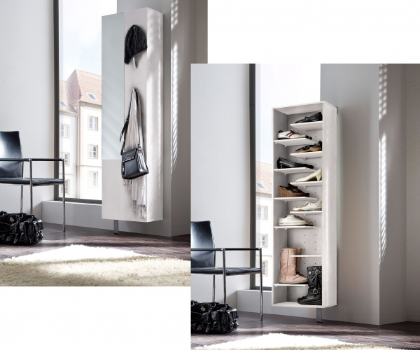 schuhschrank schuhregal drehregal garderobe diele spiegel woody sp 3h weiss ebay. Black Bedroom Furniture Sets. Home Design Ideas