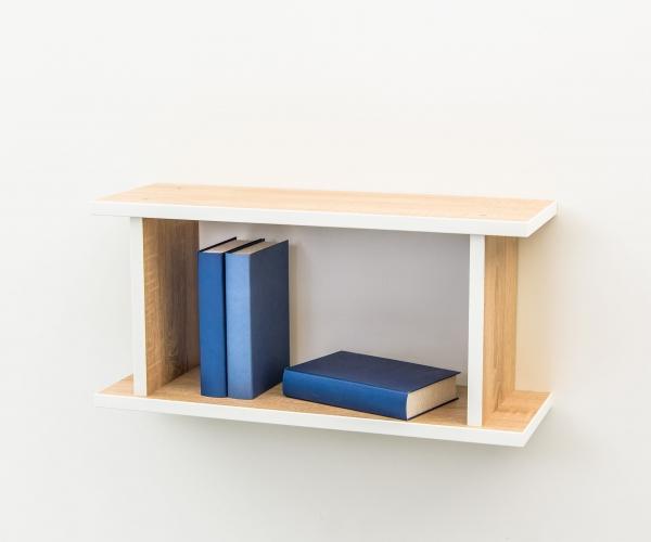 h ngeregal wandregal eiche s gerau dekor kante weiss 80 cm breit 20 cm tief ebay. Black Bedroom Furniture Sets. Home Design Ideas