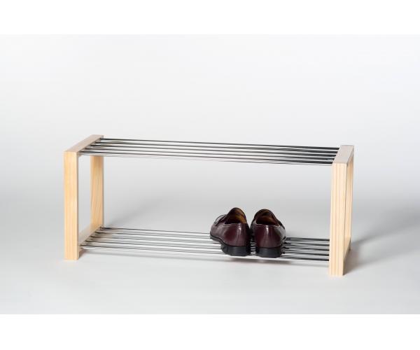 schuhregal schuhablage holzregal luis 2 etagen naturfarbig 80 cm breit ebay. Black Bedroom Furniture Sets. Home Design Ideas