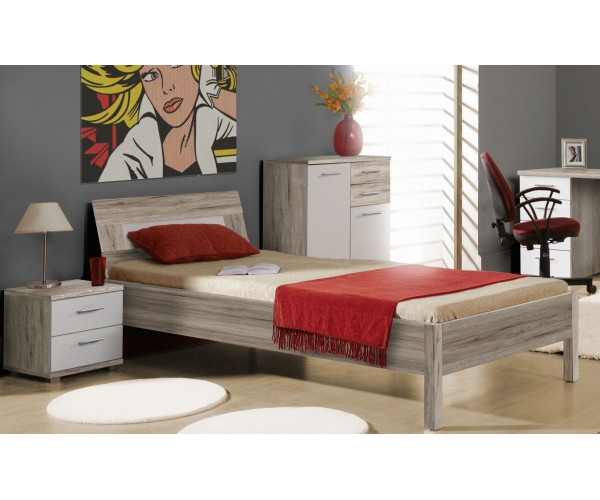 jugendbett futonbett einzelbett bett kinderbett sandeiche wei 90x200 cm. Black Bedroom Furniture Sets. Home Design Ideas