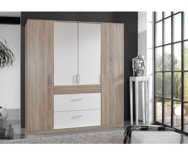 kleiderschrank stauraumschrank jugendzimmerschrank klick eiche s gerau weiss ebay. Black Bedroom Furniture Sets. Home Design Ideas