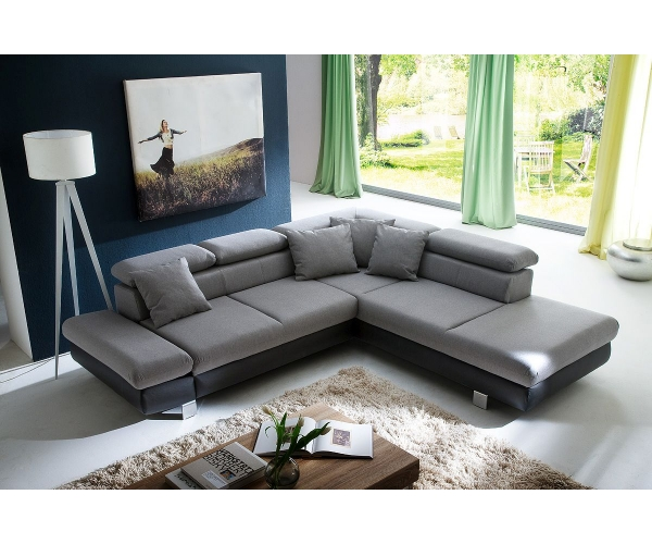 couchgarnitur wohnlandschaft sofa wohnzimmercouch 260 x 236 cm sun grau ebay. Black Bedroom Furniture Sets. Home Design Ideas