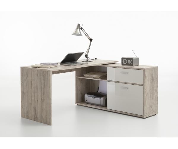 schreibtisch eckschreibtisch winkelschreibtisch sandeiche nb hochglanz wei ebay. Black Bedroom Furniture Sets. Home Design Ideas