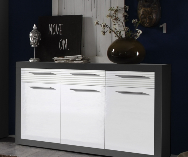 kommode beistellkommode sideboard kolibri grau weiss hochglanz ca 117 cm ebay. Black Bedroom Furniture Sets. Home Design Ideas