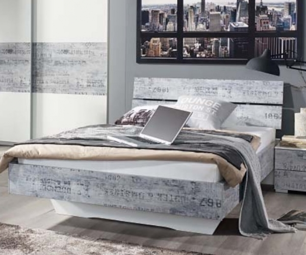jugendbett futonbett gästebett bett einzelbett weiß / vintage grau, Hause deko