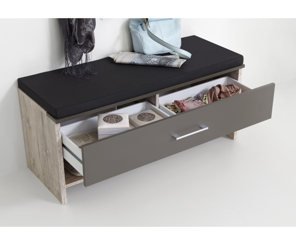 garderobenbank bank sitzbank hocker schublade sandeiche nb lava 100 cm fmd ebay. Black Bedroom Furniture Sets. Home Design Ideas