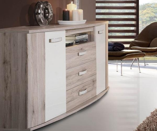 rondino sandeiche nb hochglanz weiss kommode sideboard ca 170 cm inkl led ebay