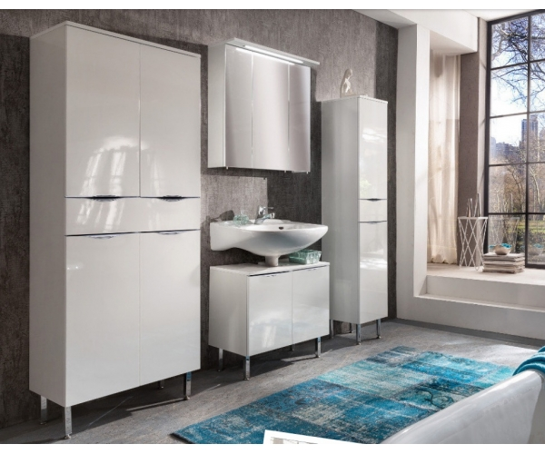 elia wei hochglanz hochschrank seitenschrank badschrank badezimmerschrank ebay. Black Bedroom Furniture Sets. Home Design Ideas