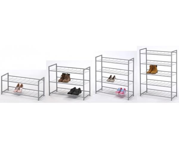 44082x9 schuhregal schuhablage regal metall silbergrau leo. Black Bedroom Furniture Sets. Home Design Ideas