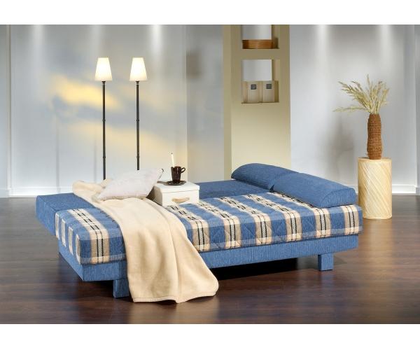 aurelia blau schlafsofa sofa 2 sitzer bettsofa couch bettfunktion mit kissen ebay. Black Bedroom Furniture Sets. Home Design Ideas
