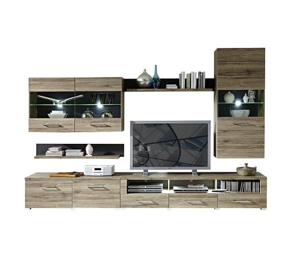 wohnwand anbauwand wohzimmerschrank deal sanremo eiche nb schiefer ca 300 cm ebay. Black Bedroom Furniture Sets. Home Design Ideas