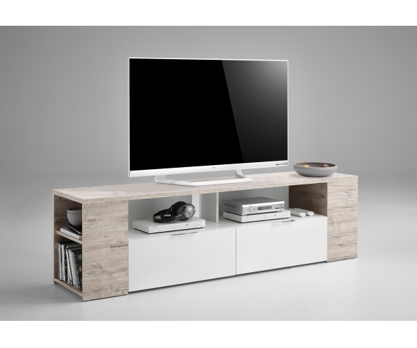 262 002 tabor 2 sandeiche nb wei lowboard mulimedia tv. Black Bedroom Furniture Sets. Home Design Ideas