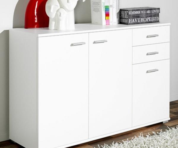 kommode sideboard beistellkommode wei 3 t ren 2 schubladen 107 x 75 x 35 cm ebay. Black Bedroom Furniture Sets. Home Design Ideas