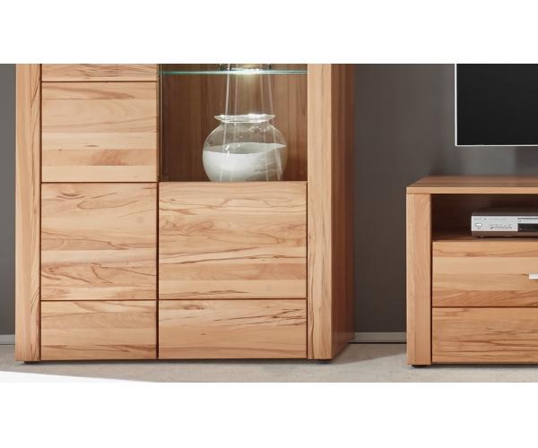 donau kernbuche teilmassiv wohnwand anbauwand wohnzimmer schrank ca 324 cm ebay. Black Bedroom Furniture Sets. Home Design Ideas