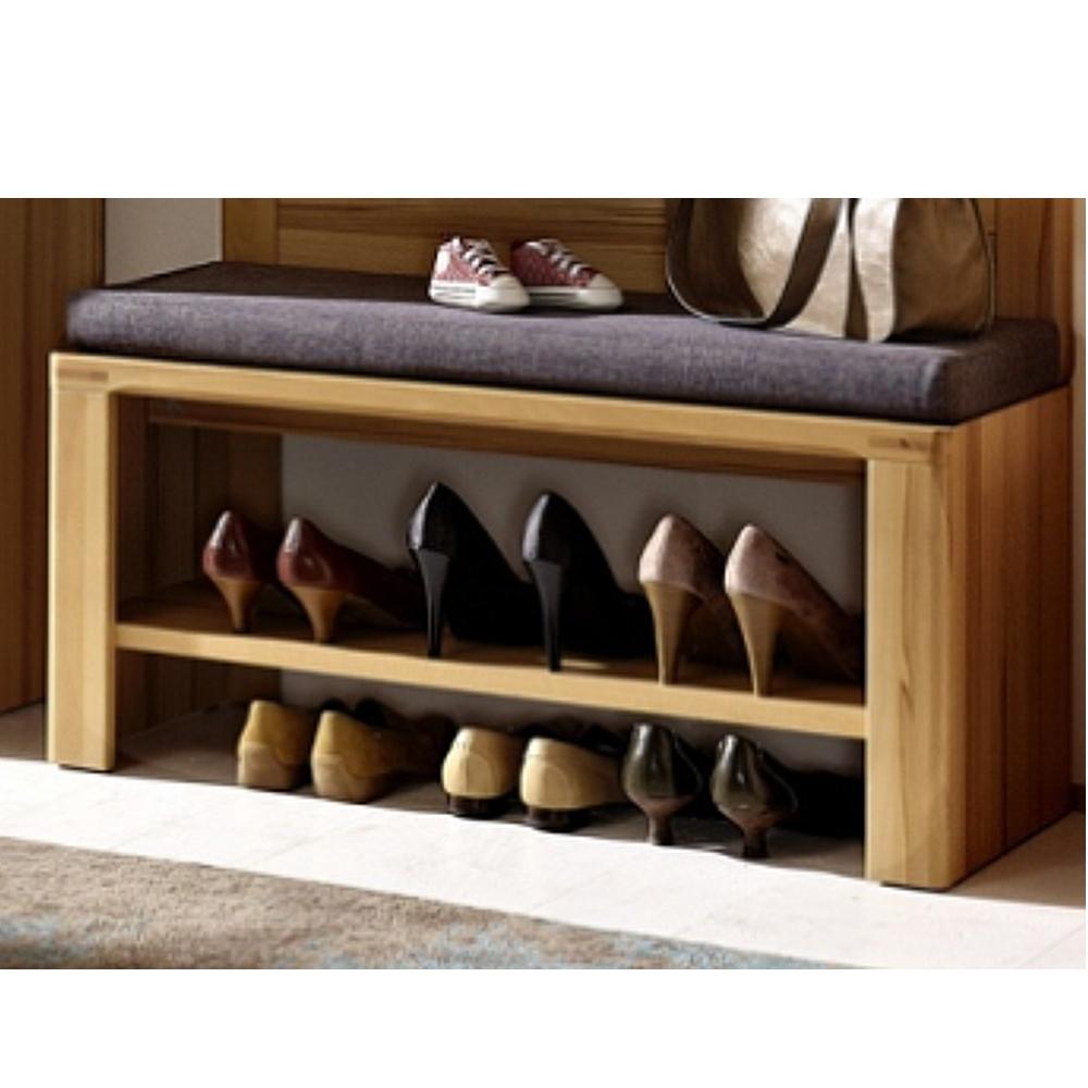 inkana kernbuche teilmassiv schuhbank mit stoffauflage in grau ca 90 cm breit ebay. Black Bedroom Furniture Sets. Home Design Ideas